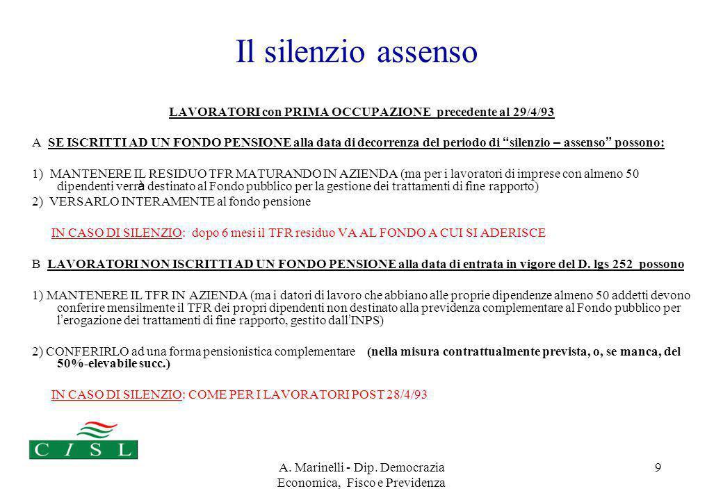 A. Marinelli - Dip. Democrazia Economica, Fisco e Previdenza 9 Il silenzio assenso LAVORATORI con PRIMA OCCUPAZIONE precedente al 29/4/93 A SE ISCRITT