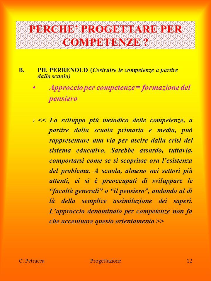 C. PetraccaProgettazione12 B.PH. PERRENOUD (Costruire le competenze a partire dalla scuola) Approccio per competenze = formazione del pensiero : > PER