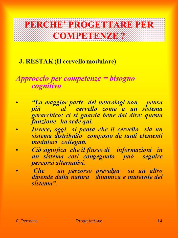 """C. PetraccaProgettazione14 J. RESTAK (Il cervello modulare) Approccio per competenze = bisogno cognitivo """"La maggior parte dei neurologi non pensa più"""