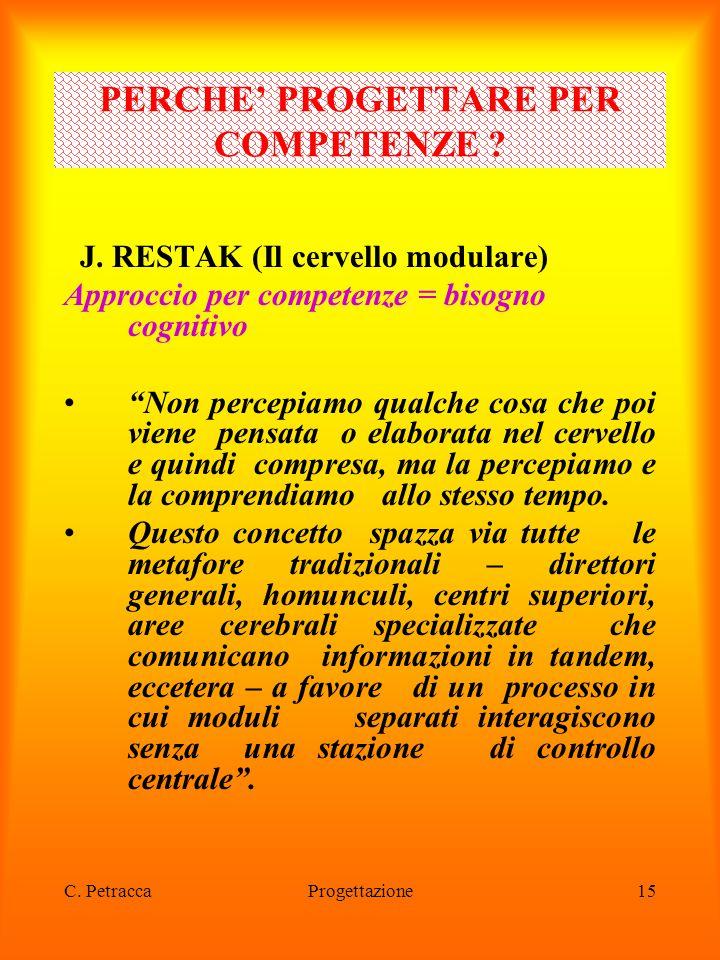 """C. PetraccaProgettazione15 J. RESTAK (Il cervello modulare) Approccio per competenze = bisogno cognitivo """"Non percepiamo qualche cosa che poi viene pe"""