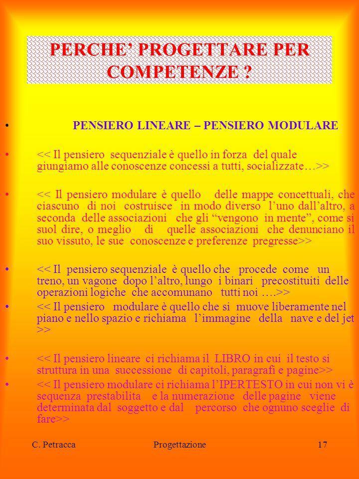C. PetraccaProgettazione17 PENSIERO LINEARE – PENSIERO MODULARE > PERCHE' PROGETTARE PER COMPETENZE ?