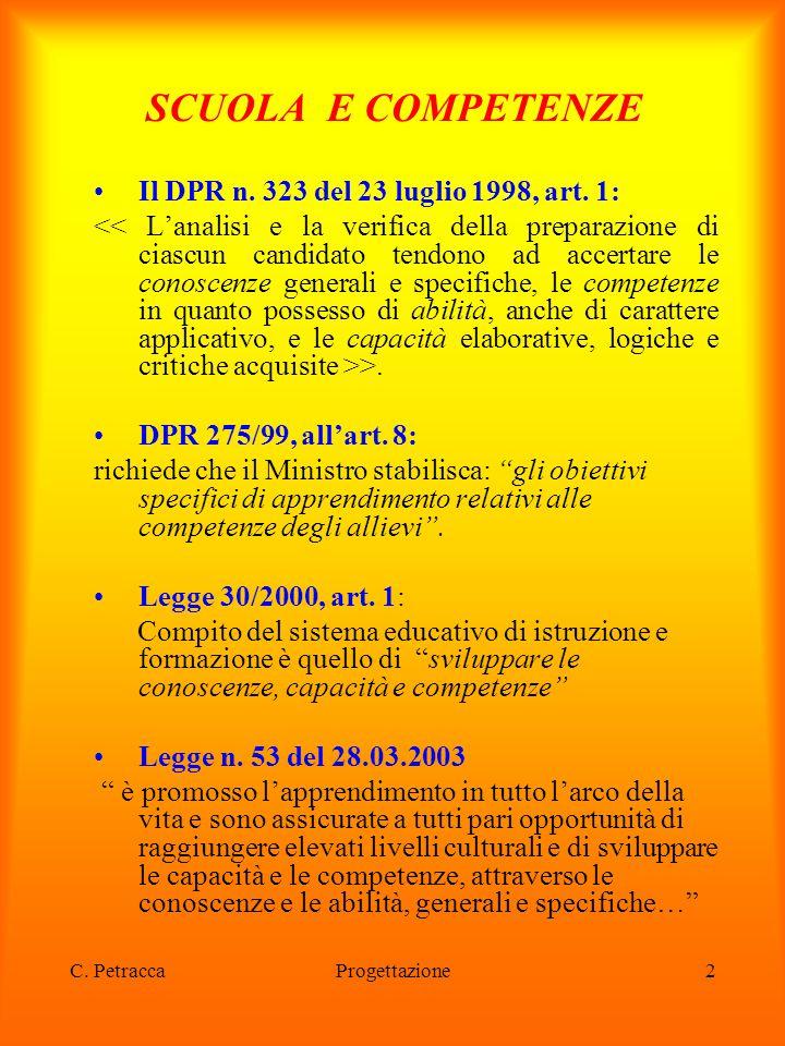 """Progettazione2 SCUOLA E COMPETENZE Il DPR n. 323 del 23 luglio 1998, art. 1: >. DPR 275/99, all'art. 8: richiede che il Ministro stabilisca: """"gli obie"""