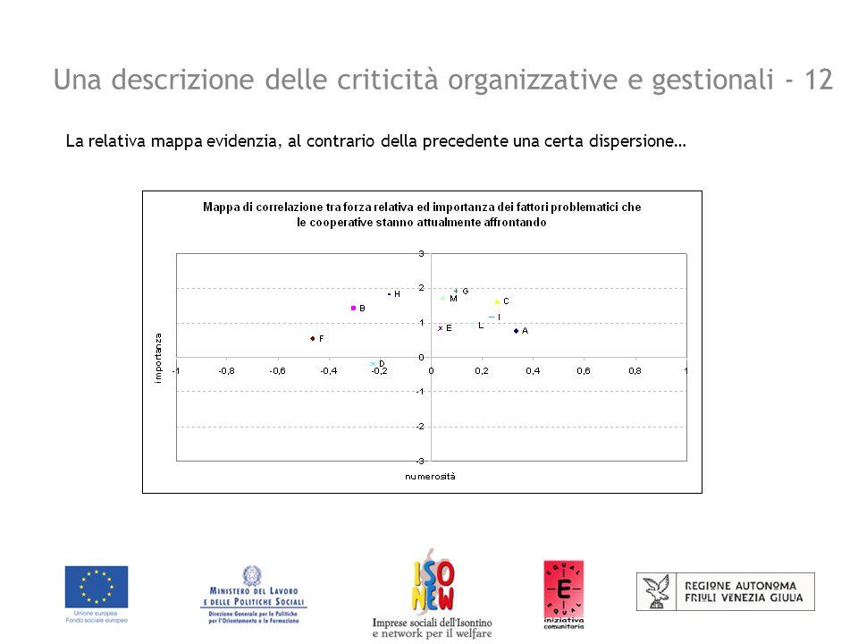 Una descrizione delle criticità organizzative e gestionali - 12 La relativa mappa evidenzia, al contrario della precedente una certa dispersione…