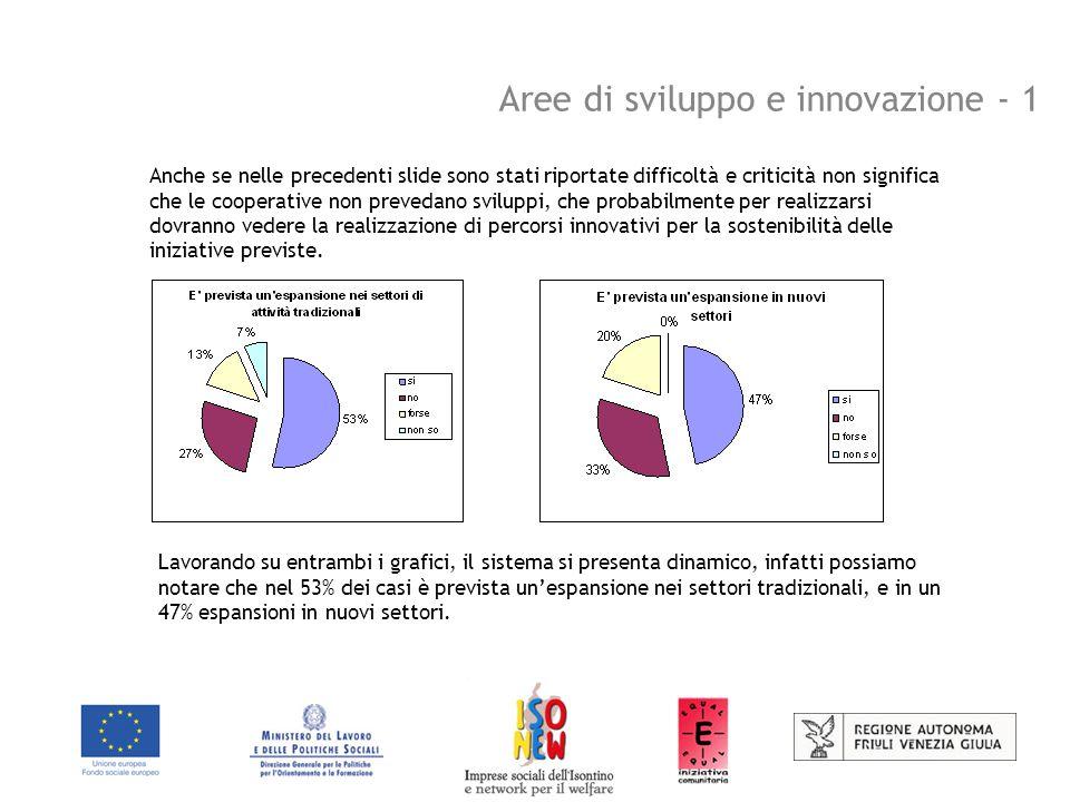 Aree di sviluppo e innovazione - 1 Anche se nelle precedenti slide sono stati riportate difficoltà e criticità non significa che le cooperative non prevedano sviluppi, che probabilmente per realizzarsi dovranno vedere la realizzazione di percorsi innovativi per la sostenibilità delle iniziative previste.