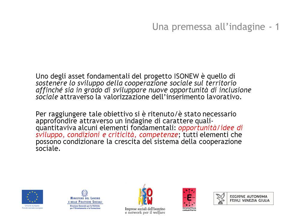 Una premessa all'indagine - 1 Uno degli asset fondamentali del progetto ISONEW è quello di sostenere lo sviluppo della cooperazione sociale sul territorio affinché sia in grado di sviluppare nuove opportunità di inclusione sociale attraverso la valorizzazione dell'inserimento lavorativo.