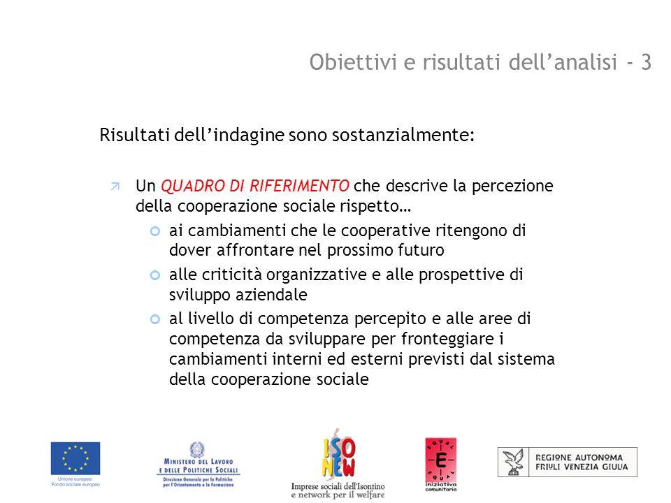 Obiettivi e risultati dell'analisi - 4 Risultati dell'indagine sono sostanzialmente:  Una STRATEGIA D'INTERVENTO caratterizzata… dalla condivisione delle scelte nella definizione di priorità d'intervento coerenti rispetto alla forza relativa e all'importanza dei fattori di cambiamento dalla coerenza nella scelta delle prospettive formative rispetto alle necessità delle cooperative sociali quali soggetti di inclusione sociale che intendono valorizzare maggiormente i processi d'inserimento lavorativo in coerenza a quanto previsto dal progetto ISONEW per la valorizzazione delle innovazioni proposte nell'affrontare le possibili soluzioni formative e organizzative con sui sostenere anche processi di mainstreameng orizzontale e verticale
