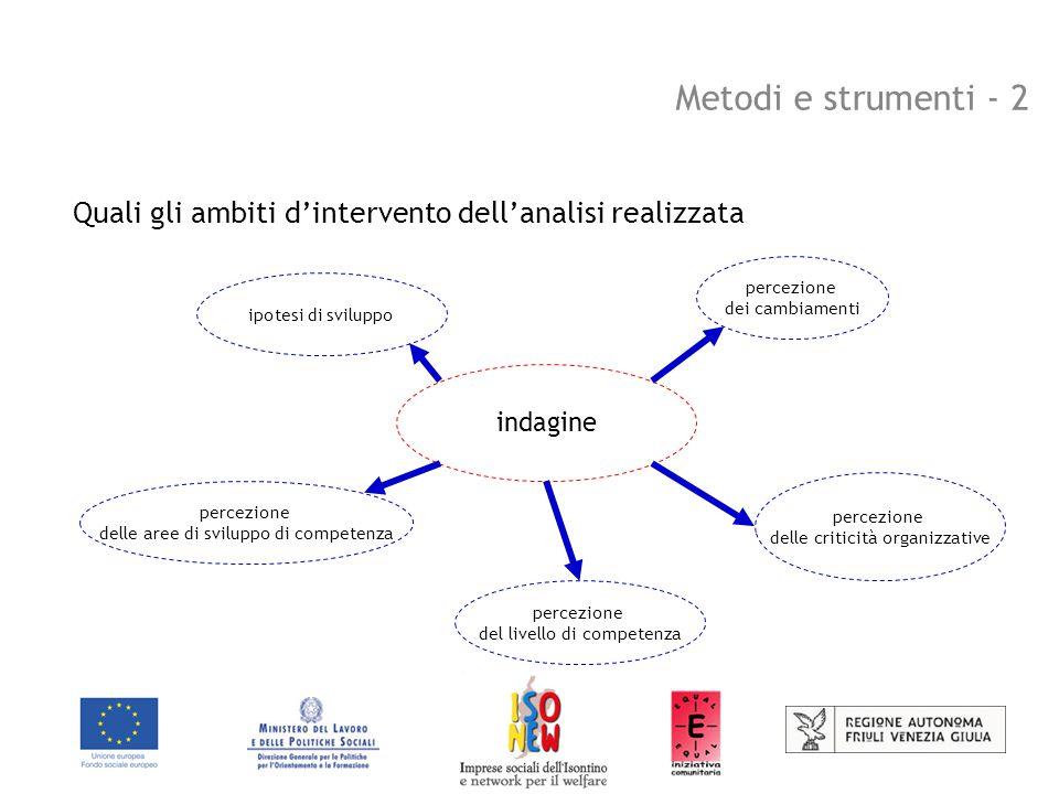 Metodi e strumenti - 2 Quali gli ambiti d'intervento dell'analisi realizzata indagine percezione dei cambiamenti percezione delle criticità organizzative percezione del livello di competenza percezione delle aree di sviluppo di competenza ipotesi di sviluppo