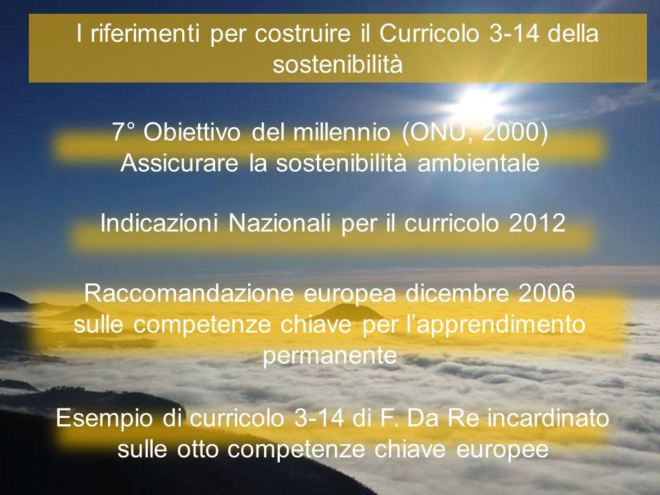 I riferimenti per costruire il Curricolo 3-14 della sostenibilità Raccomandazione europea dicembre 2006 sulle competenze chiave per l'apprendimento permanente Esempio di curricolo 3-14 di F.