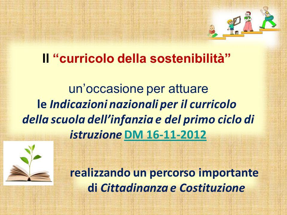 Il curricolo della sostenibilità un'occasione per attuare le Indicazioni nazionali per il curricolo della scuola dell'infanzia e del primo ciclo di istruzione DM 16-11-2012DM 16-11-2012 realizzando un percorso importante di Cittadinanza e Costituzione