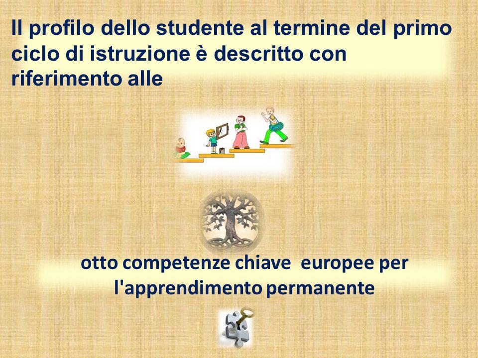 Il profilo dello studente al termine del primo ciclo di istruzione è descritto con riferimento alle otto competenze chiave europee per l apprendimento permanente