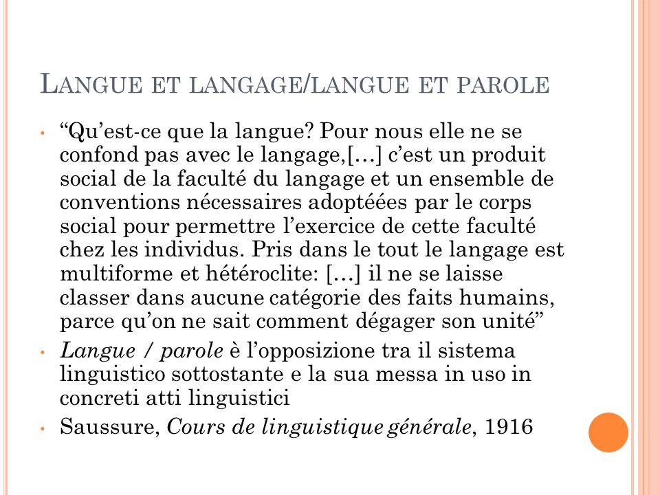 """DISTINZIONE FRA LINGUA E LINGUAGGIO """" Il linguaggio, facoltà umana, caratteristica universale e immutabile dell'uomo, è una cosa diverse dalle lingue,"""