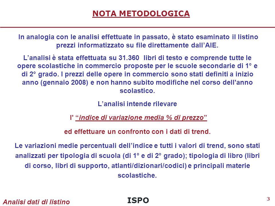 ISPO 3 NOTA METODOLOGICA In analogia con le analisi effettuate in passato, è stato esaminato il listino prezzi informatizzato su file direttamente dall'AIE.