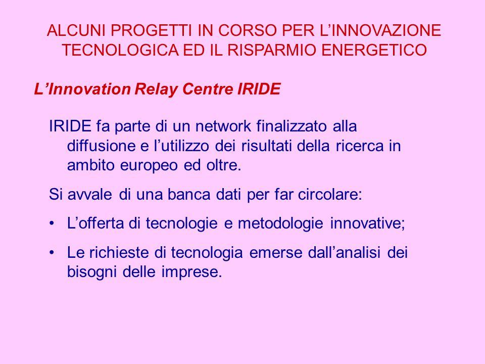 L'Innovation Relay Centre IRIDE ALCUNI PROGETTI IN CORSO PER L'INNOVAZIONE TECNOLOGICA ED IL RISPARMIO ENERGETICO IRIDE fa parte di un network finalizzato alla diffusione e l'utilizzo dei risultati della ricerca in ambito europeo ed oltre.