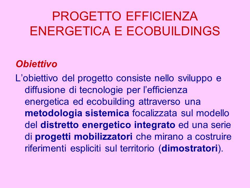 PROGETTO EFFICIENZA ENERGETICA E ECOBUILDINGS Obiettivo L'obiettivo del progetto consiste nello sviluppo e diffusione di tecnologie per l'efficienza energetica ed ecobuilding attraverso una metodologia sistemica focalizzata sul modello del distretto energetico integrato ed una serie di progetti mobilizzatori che mirano a costruire riferimenti espliciti sul territorio (dimostratori).