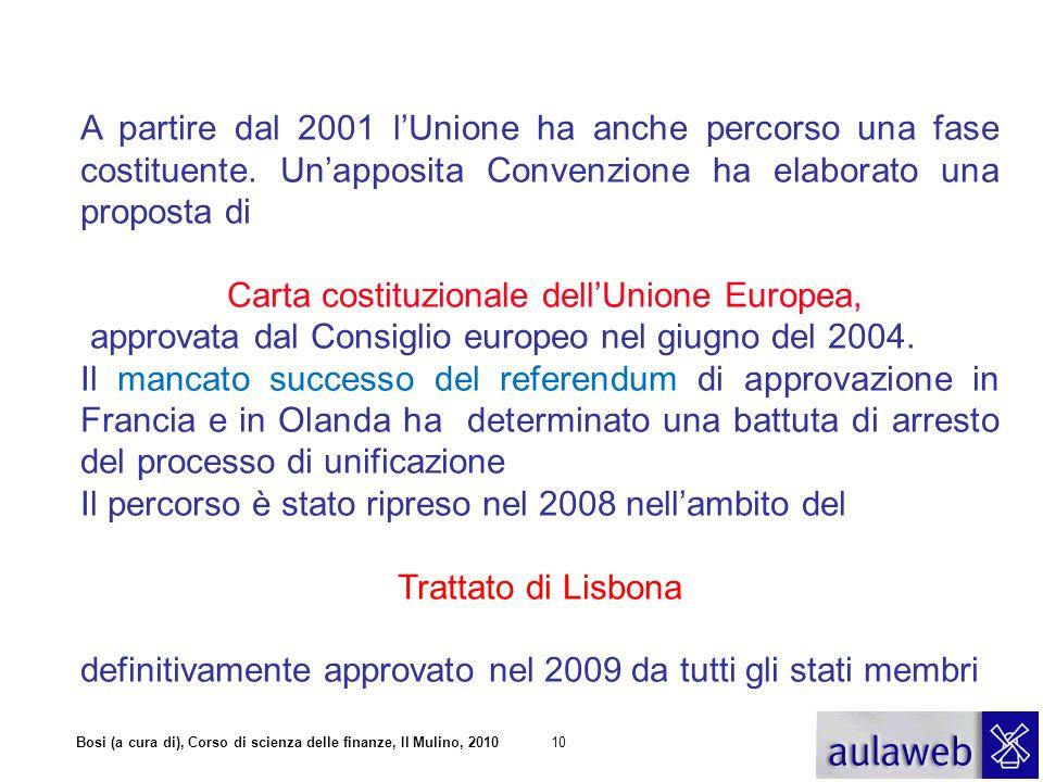 Bosi (a cura di), Corso di scienza delle finanze, Il Mulino, 201010 A partire dal 2001 l'Unione ha anche percorso una fase costituente. Un'apposita Co