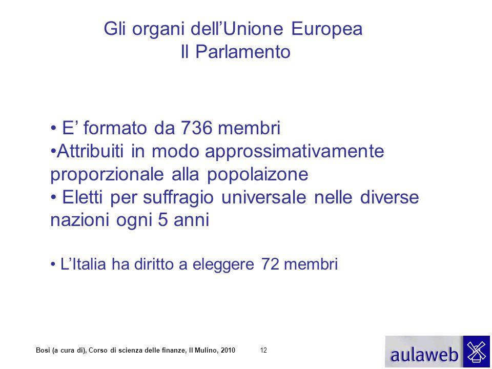 Bosi (a cura di), Corso di scienza delle finanze, Il Mulino, 201012 Gli organi dell'Unione Europea Il Parlamento E' formato da 736 membri Attribuiti i