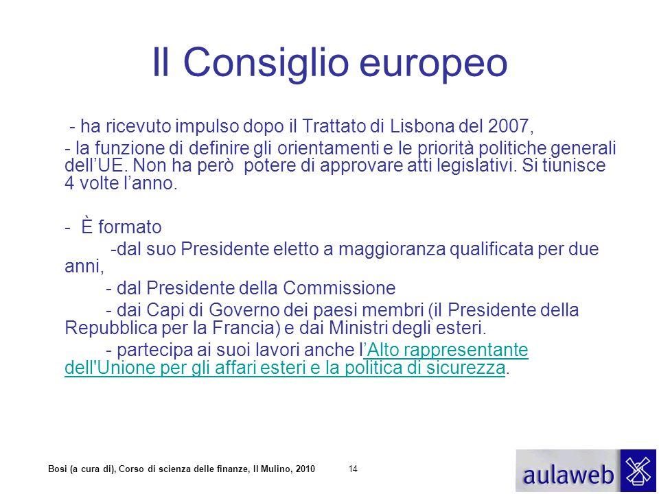 Bosi (a cura di), Corso di scienza delle finanze, Il Mulino, 201014 Il Consiglio europeo - ha ricevuto impulso dopo il Trattato di Lisbona del 2007, -