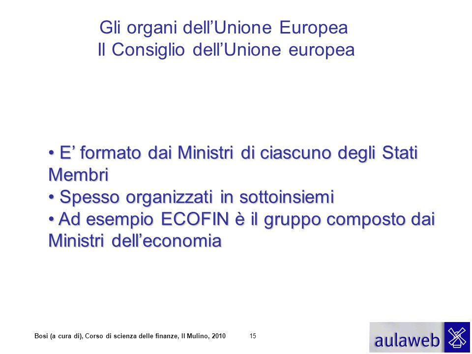 Bosi (a cura di), Corso di scienza delle finanze, Il Mulino, 201015 Gli organi dell'Unione Europea Il Consiglio dell'Unione europea E' formato dai Min