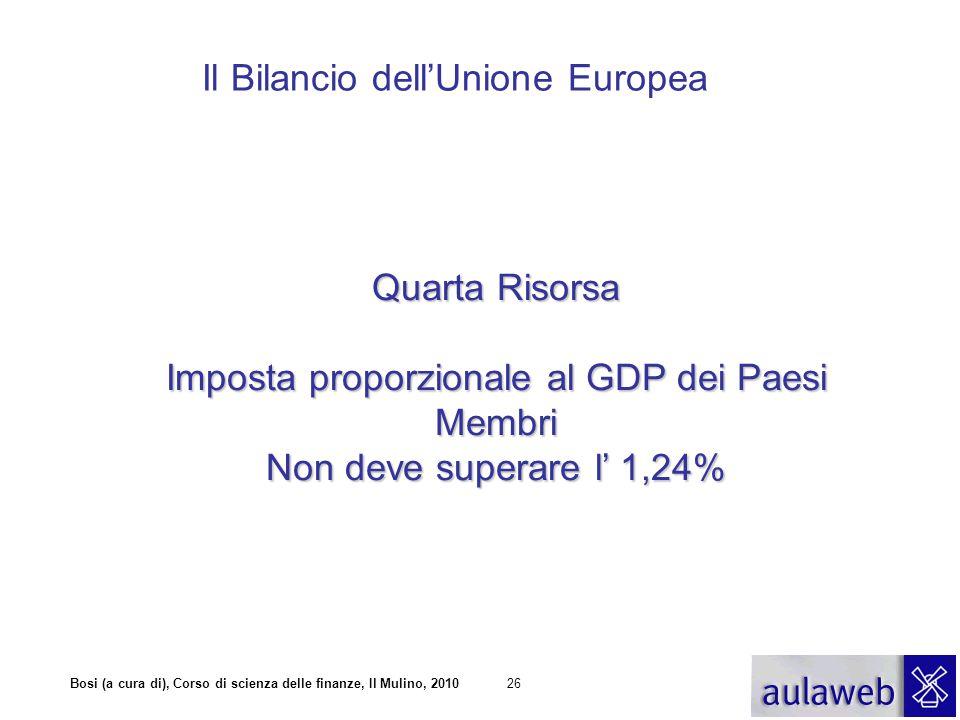 Bosi (a cura di), Corso di scienza delle finanze, Il Mulino, 201026 Il Bilancio dell'Unione Europea Quarta Risorsa Imposta proporzionale al GDP dei Pa