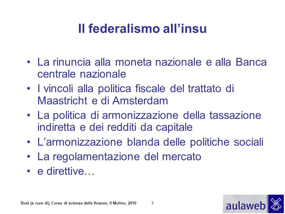 Bosi (a cura di), Corso di scienza delle finanze, Il Mulino, 20103 Il federalismo all'insu La rinuncia alla moneta nazionale e alla Banca centrale naz