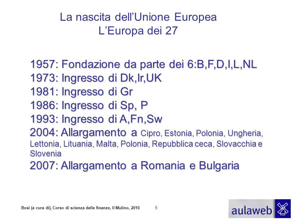 Bosi (a cura di), Corso di scienza delle finanze, Il Mulino, 20105 La nascita dell'Unione Europea L'Europa dei 27 1957: Fondazione da parte dei 6:B,F,