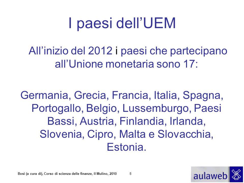 Bosi (a cura di), Corso di scienza delle finanze, Il Mulino, 20108 I paesi dell'UEM All'inizio del 2012 i paesi che partecipano all'Unione monetaria s