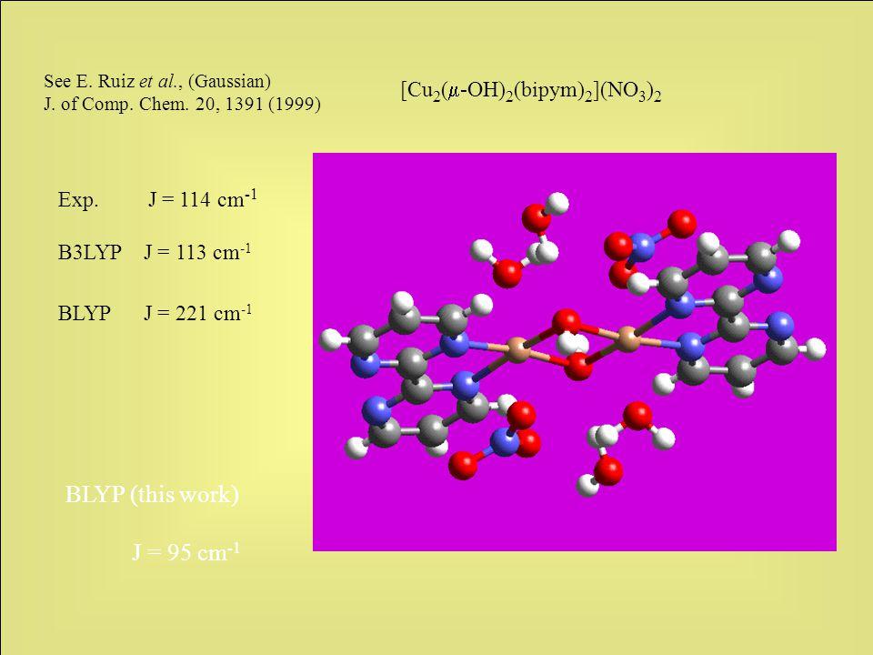 [Cu 2 (  -OH) 2 (bipym) 2 ](NO 3 ) 2 See E. Ruiz et al., (Gaussian) J.