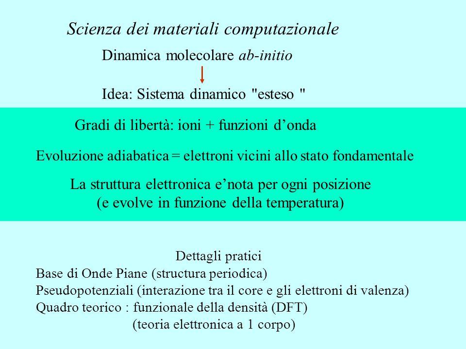 Dinamica molecolare ab-initio Idea: Sistema dinamico esteso Gradi di libertà: ioni + funzioni d'onda Evoluzione adiabatica = elettroni vicini allo stato fondamentale La struttura elettronica e'nota per ogni posizione (e evolve in funzione della temperatura) Dettagli pratici Base di Onde Piane (structura periodica) Pseudopotenziali (interazione tra il core e gli elettroni di valenza) Quadro teorico : funzionale della densità (DFT) (teoria elettronica a 1 corpo) Scienza dei materiali computazionale