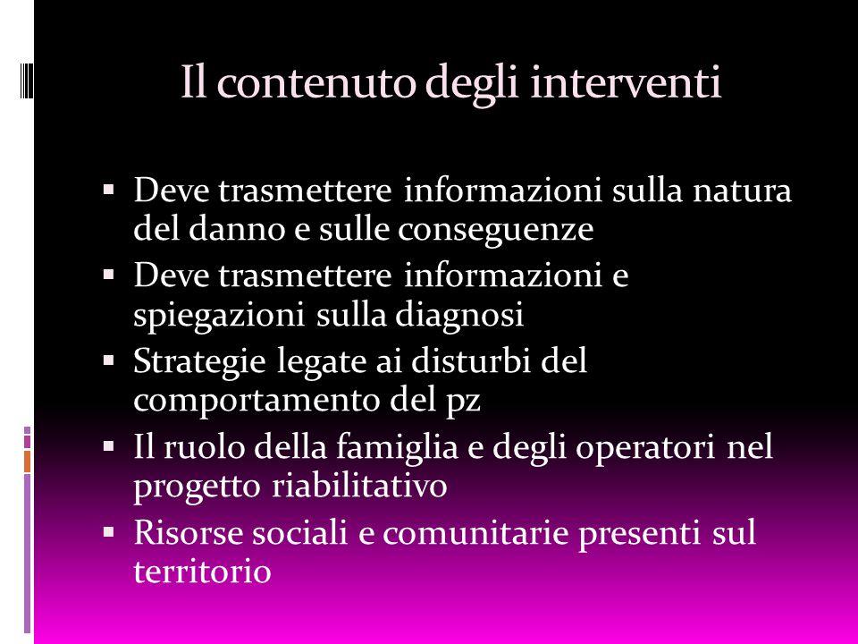 Il contenuto degli interventi  Deve trasmettere informazioni sulla natura del danno e sulle conseguenze  Deve trasmettere informazioni e spiegazioni