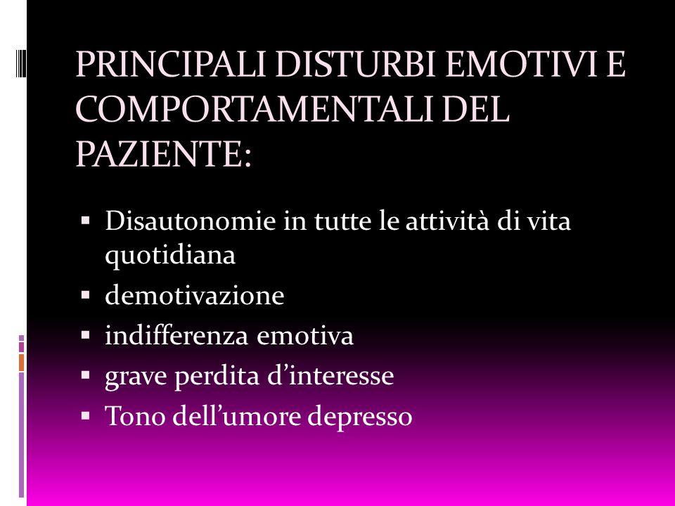 PRINCIPALI DISTURBI EMOTIVI E COMPORTAMENTALI DEL PAZIENTE:  Disautonomie in tutte le attività di vita quotidiana  demotivazione  indifferenza emot