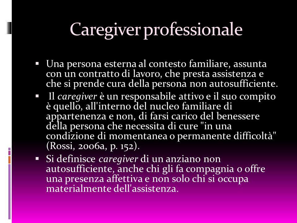Caregiver professionale  Una persona esterna al contesto familiare, assunta con un contratto di lavoro, che presta assistenza e che si prende cura de
