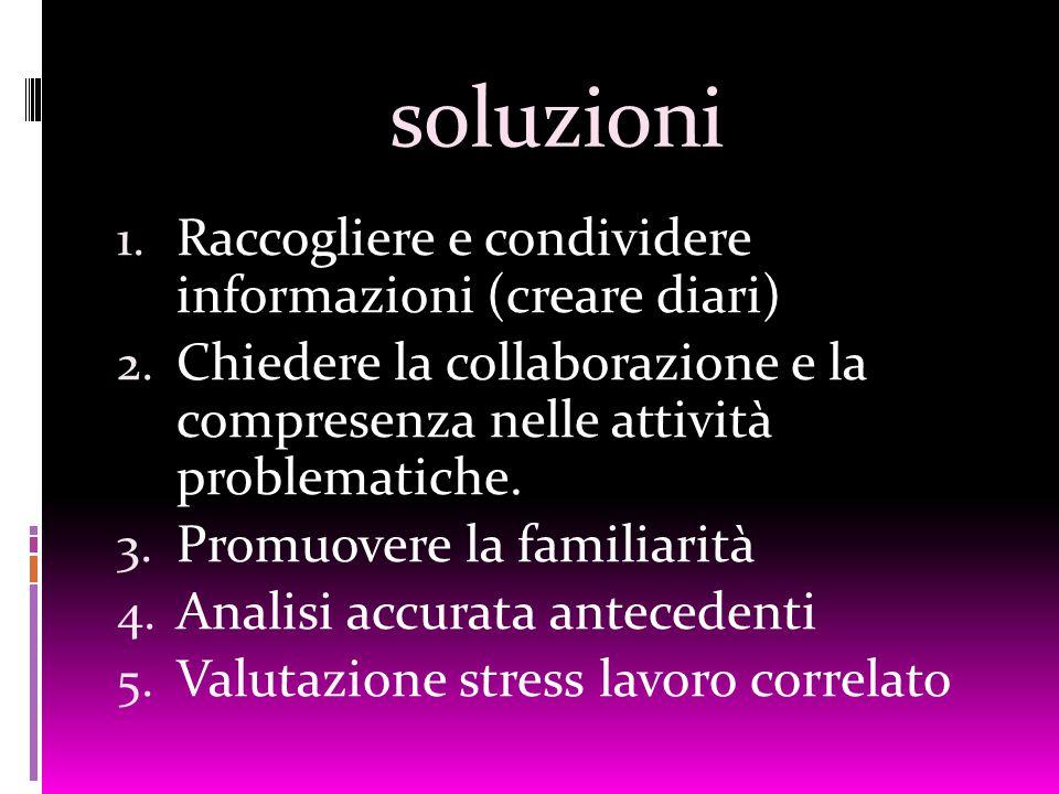 soluzioni 1. Raccogliere e condividere informazioni (creare diari) 2. Chiedere la collaborazione e la compresenza nelle attività problematiche. 3. Pro