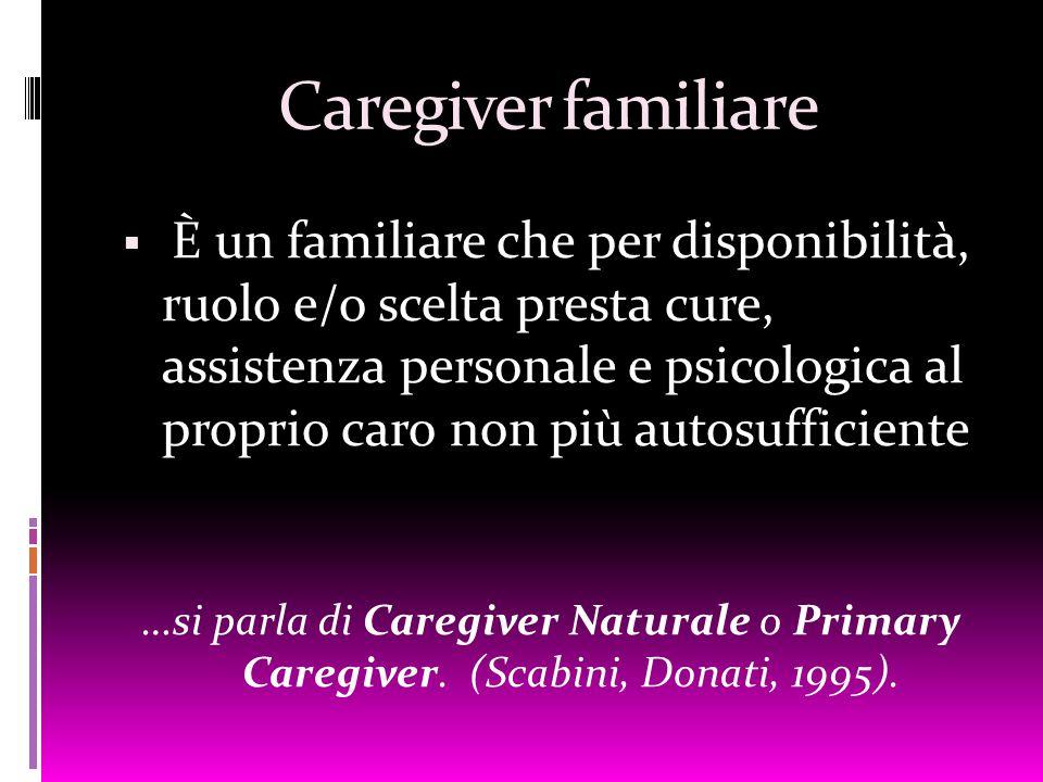 Caregiver familiare  È un familiare che per disponibilità, ruolo e/o scelta presta cure, assistenza personale e psicologica al proprio caro non più a