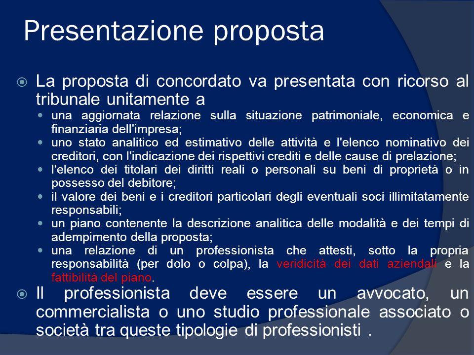 Presentazione proposta  La proposta di concordato va presentata con ricorso al tribunale unitamente a una aggiornata relazione sulla situazione patri