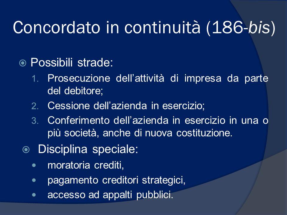 Concordato in continuità (186-bis)  Possibili strade: 1. Prosecuzione dell'attività di impresa da parte del debitore; 2. Cessione dell'azienda in ese