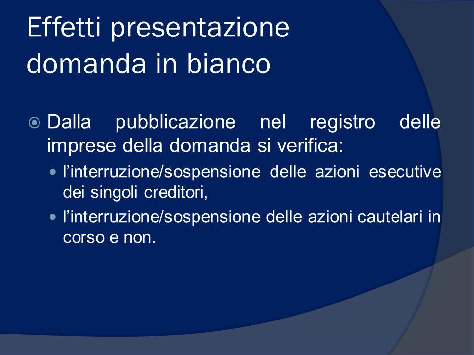 Effetti presentazione domanda in bianco  Dalla pubblicazione nel registro delle imprese della domanda si verifica: l'interruzione/sospensione delle a