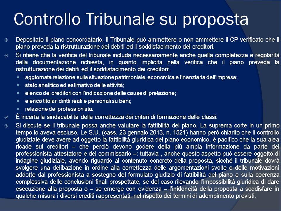 Controllo Tribunale su proposta  Depositato il piano concordatario, il Tribunale può ammettere o non ammettere il CP verificato che il piano preveda