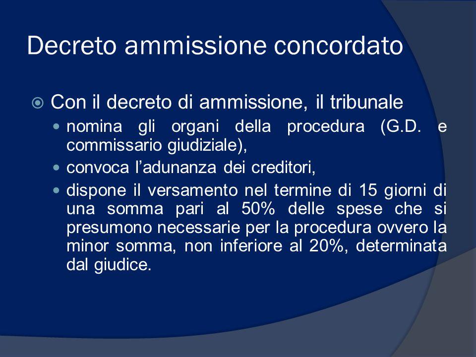 Decreto ammissione concordato  Con il decreto di ammissione, il tribunale nomina gli organi della procedura (G.D. e commissario giudiziale), convoca