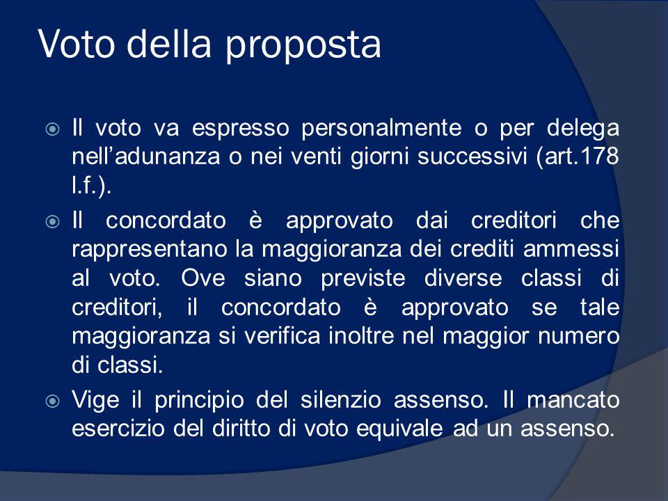 Voto della proposta  Il voto va espresso personalmente o per delega nell'adunanza o nei venti giorni successivi (art.178 l.f.).  Il concordato è app