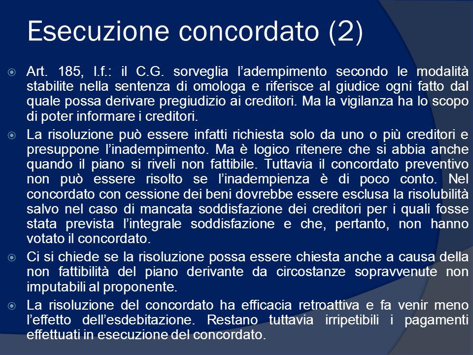 Esecuzione concordato (2)  Art. 185, l.f.: il C.G. sorveglia l'adempimento secondo le modalità stabilite nella sentenza di omologa e riferisce al giu