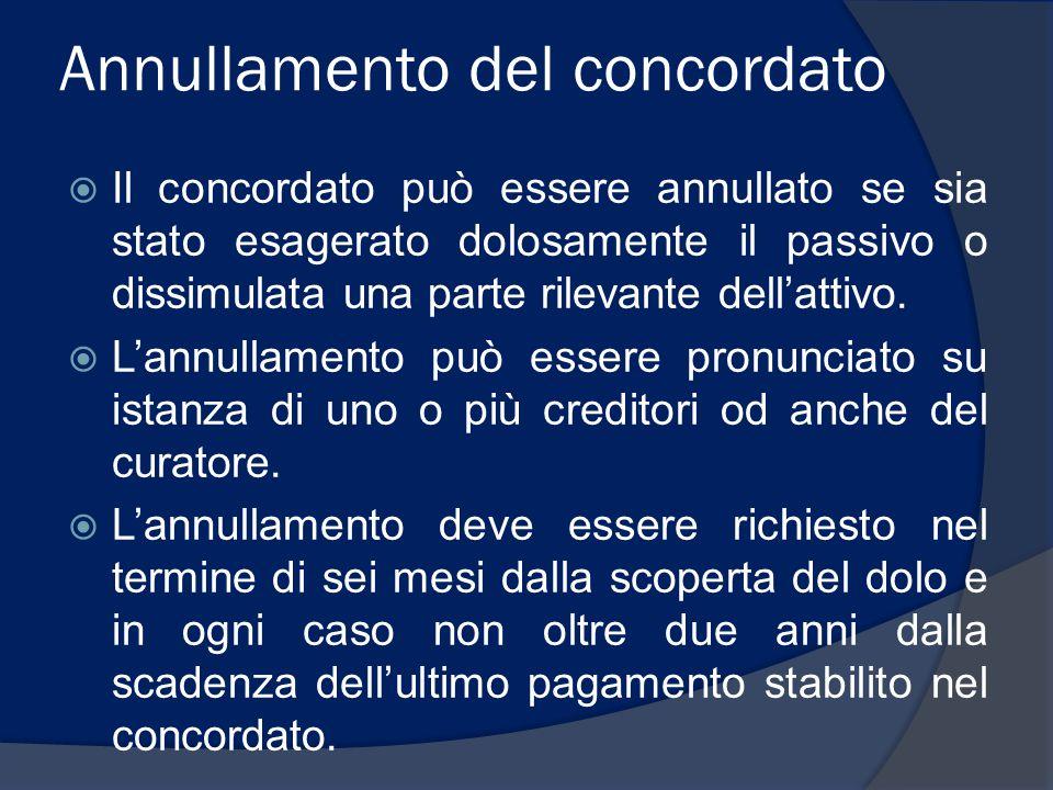 Annullamento del concordato  Il concordato può essere annullato se sia stato esagerato dolosamente il passivo o dissimulata una parte rilevante dell'