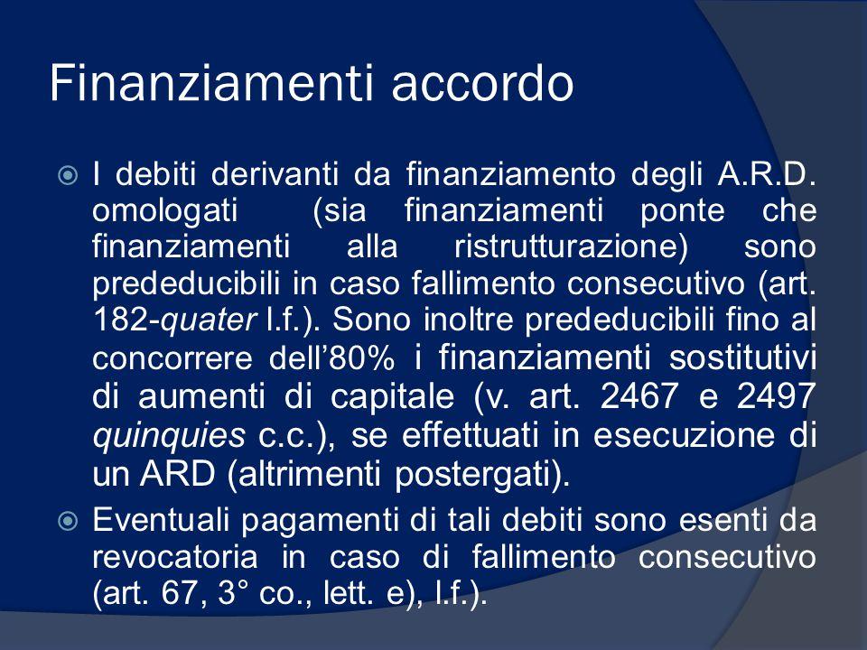 Finanziamenti accordo  I debiti derivanti da finanziamento degli A.R.D. omologati (sia finanziamenti ponte che finanziamenti alla ristrutturazione) s