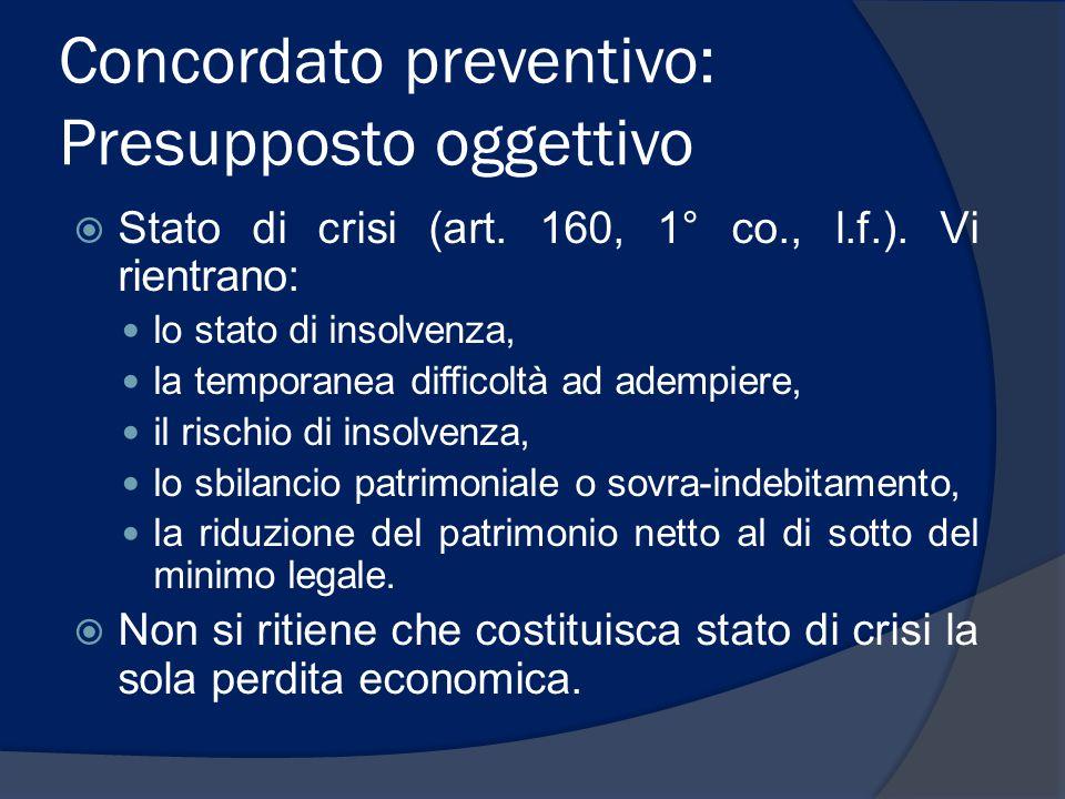 Concordato preventivo: Presupposto oggettivo  Stato di crisi (art. 160, 1° co., l.f.). Vi rientrano: lo stato di insolvenza, la temporanea difficoltà