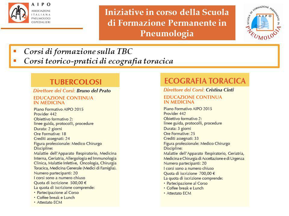  Corsi di formazione sulla TBC  Corsi teorico-pratici di ecografia toracica Iniziative in corso della Scuola di Formazione Permanente in Pneumologia