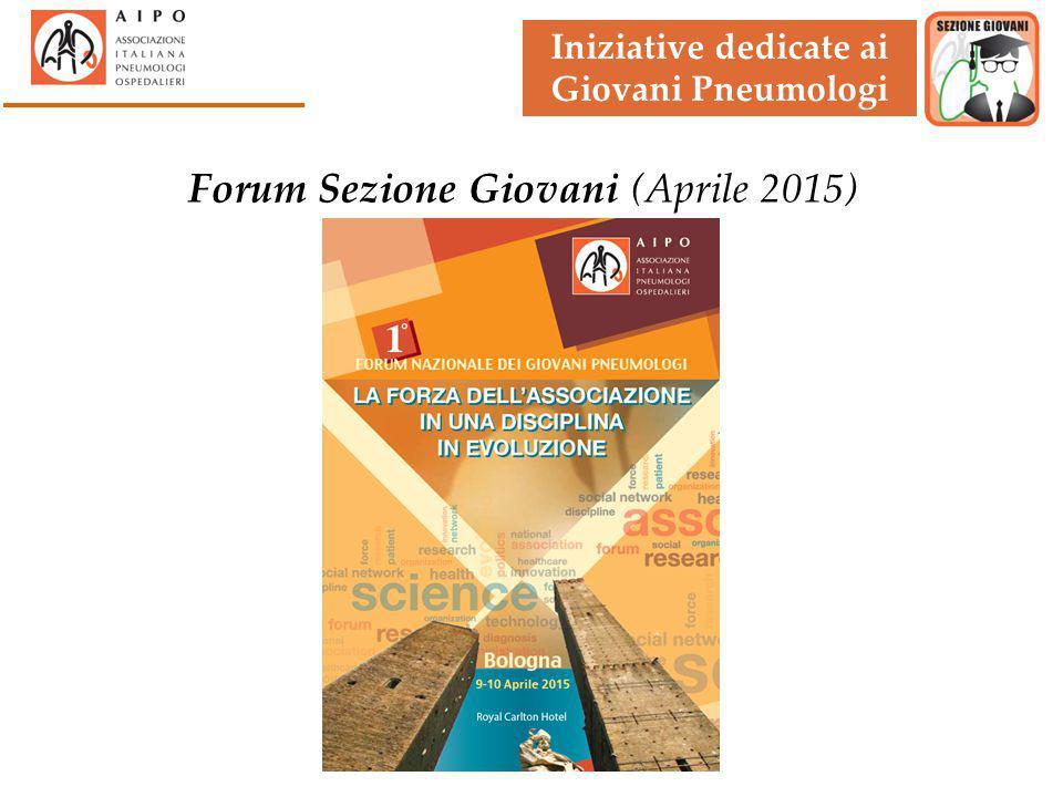 Iniziative dedicate ai Giovani Pneumologi Forum Sezione Giovani (Aprile 2015)