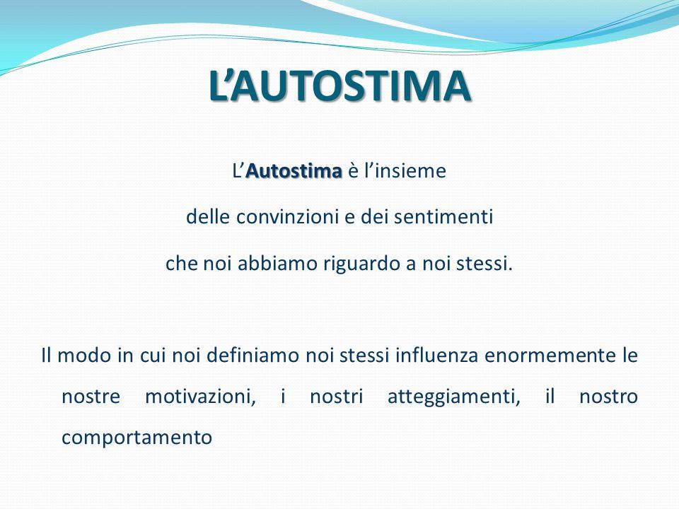 L'AUTOSTIMA Autostima L'Autostima è l'insieme delle convinzioni e dei sentimenti che noi abbiamo riguardo a noi stessi. Il modo in cui noi definiamo n