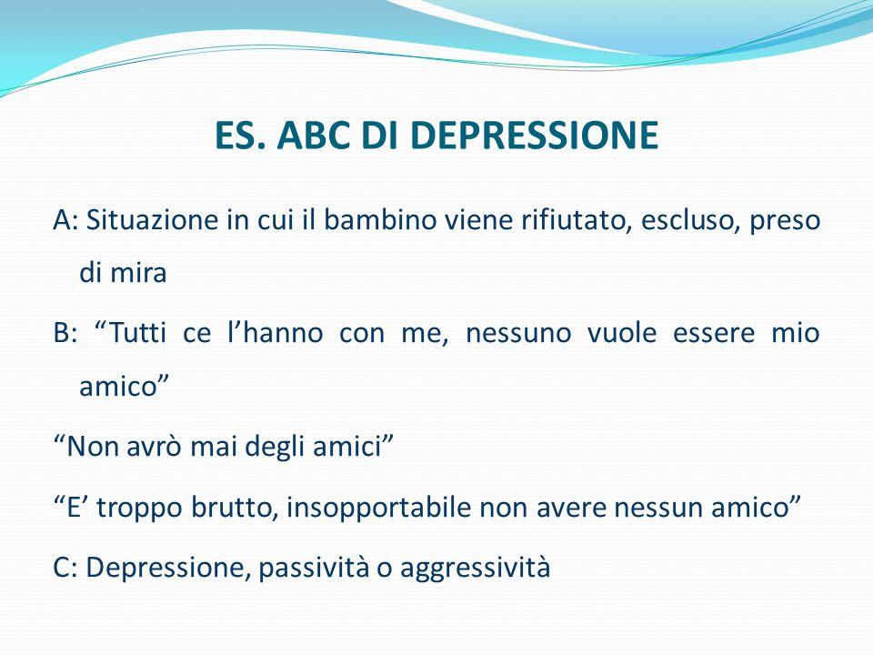 """ES. ABC DI DEPRESSIONE A: Situazione in cui il bambino viene rifiutato, escluso, preso di mira B: """"Tutti ce l'hanno con me, nessuno vuole essere mio a"""