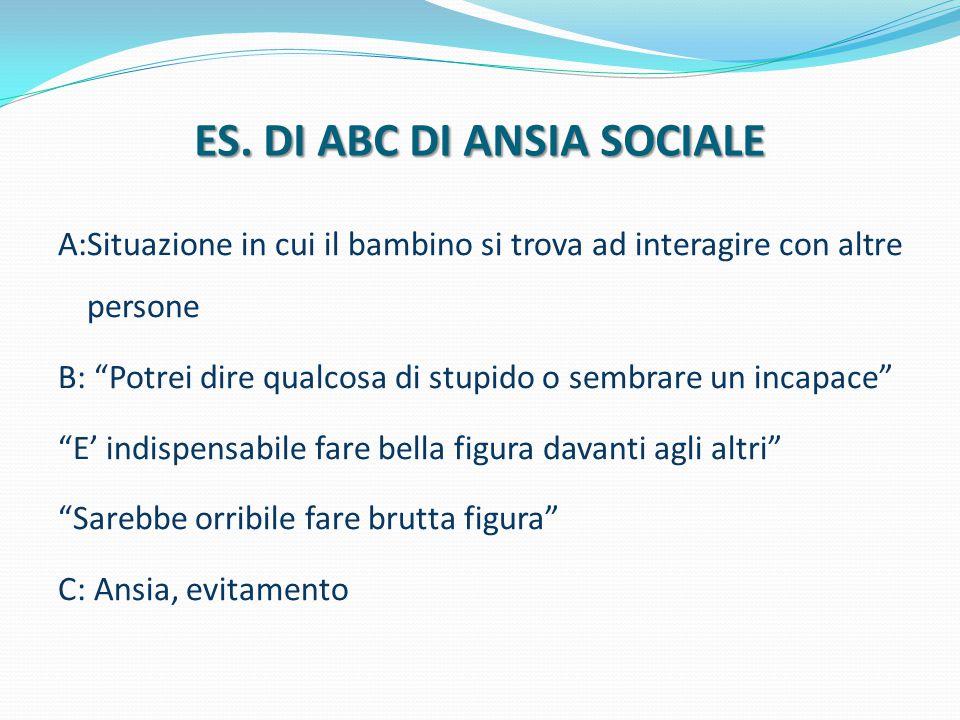 """ES. DI ABC DI ANSIA SOCIALE A:Situazione in cui il bambino si trova ad interagire con altre persone B: """"Potrei dire qualcosa di stupido o sembrare un"""