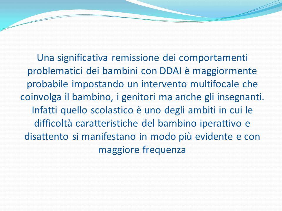 Una significativa remissione dei comportamenti problematici dei bambini con DDAI è maggiormente probabile impostando un intervento multifocale che coi