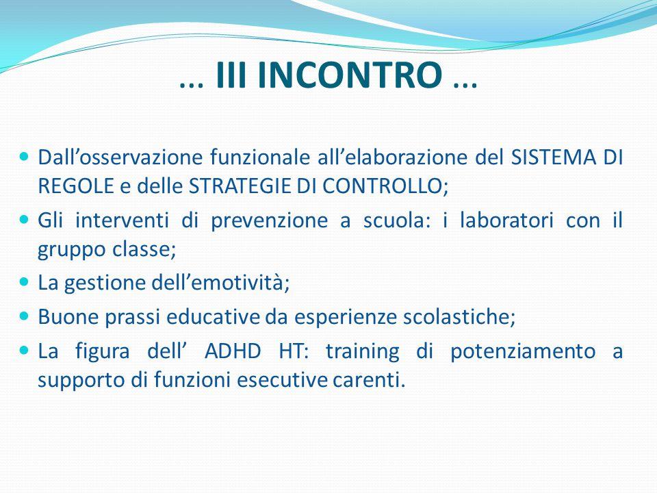 … III INCONTRO … Dall'osservazione funzionale all'elaborazione del SISTEMA DI REGOLE e delle STRATEGIE DI CONTROLLO; Gli interventi di prevenzione a s